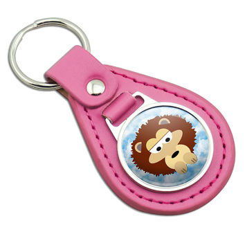 Sweet Hedgehog Pink Leather Keychain