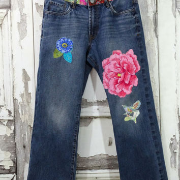 Upcycled Jeans,Hippie Jeans,Patched Jeans,Upcycled Clothing, Boho Chic,Gypsy Style,Repurposed Denim