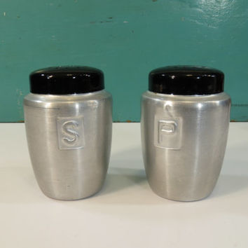 Brushed Aluminum Salt & Pepper Shakers Vintage 1950s Japan