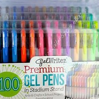 Gel Writer 100 Premium Gel Pens Stadium Stand Adult Coloring Book Latex-Free