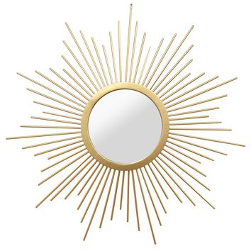 Formosa Gold Sunburst Round Wall Mirror