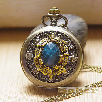 Victorian Retro Dark green opals Pocket Watch Necklace Y125