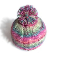 Pink and mint pompom hat, striped beanie, wool hat for kids, handknit seamless hat, newborn baby