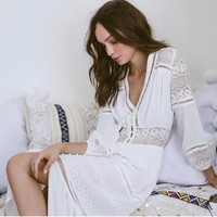Vintage Summer Vacation Maxi Dress Lace Patchwork Women's Fashion White Hollow Out Three-quarter Sleeve One Piece Dress [13536133146]