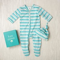 Kate Quinn Hat Set (Aqua Water) in Footies & Rompers | The Land of Nod