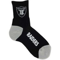 OAKLAND RAIDERS TEAM LOGO BLACK CREW SOCKS SIZE MEDIUM NEW FOR BARE FEET