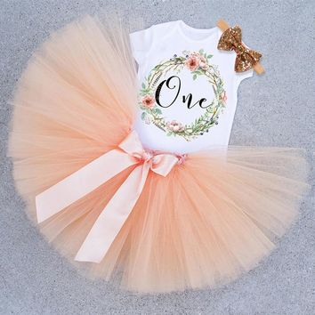 Baby Girl First 1st Birthday Party Tutu Dresses sets / size 12-18M / 21 colors & options