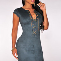 Faux Suede Lace Up Neck Bodycon Mini Dress