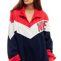 Nike Sweatshirt Pullover Sweatshirt 80s Sporty Sports Shirt Half Zip Striped Red White Blue Hipster 1980s Vintage Jacket Large