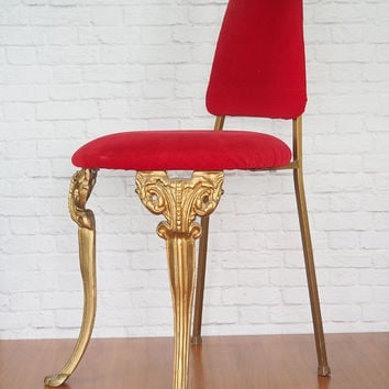 Hollywood Regency Vanity Chair Red Velvet and Ornate Gold Vintage Furniture