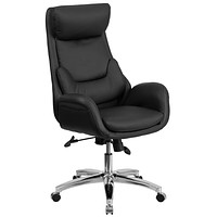 High Back Leather Executive Swivel Office Chair with Lumbar Pillow