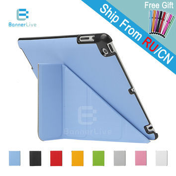 4 Shapes For Apple iPad 4 3 2 Case PU Leather Smart Cover Smartcover for iPad2 iPad3 iPad4 with Stylus Pen as Gift