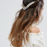 ASOS Jewel Leaf Back Crown Headband at asos.com