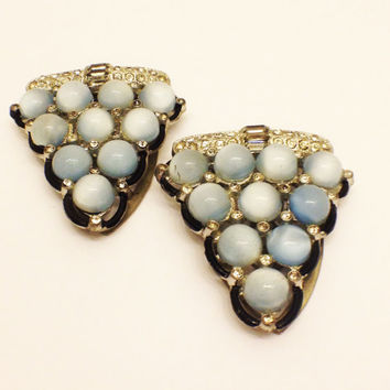 Antique Art Deco Moonstone Dress Clips, Black Glass Border, Rhinestones, Pair, 1920s, 1930s