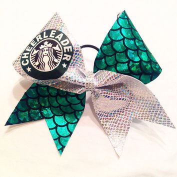 Holographic Starbucks Inspired Cheerleader Bow
