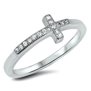 .925 Sterling Silver Cross Sideways Ladies Ring Size 3-12 Christian CZ Midi Knuckle Thumb