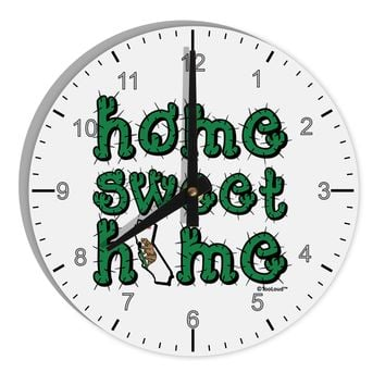 """Home Sweet Home - California - Cactus and State Flag 8"""" Round Wall Clock with Numbers by TooLoud"""