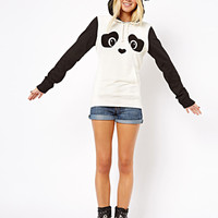 Black And White Panda Print Sweatshirt With Hoodie