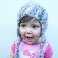 Crochet Fuzzy Earflap Beanie Hat in variegated pink, white and grey's, infants 12-18 months, ready to ship.