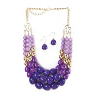 Radiant Orchid 3 Layer Beads Necklace And Earrings Jewelry Set