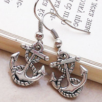 Anchor charm earrings casual antique chic earrings