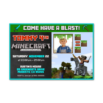 Minecraft Unicorn Kids Birthday Invitation Party Design