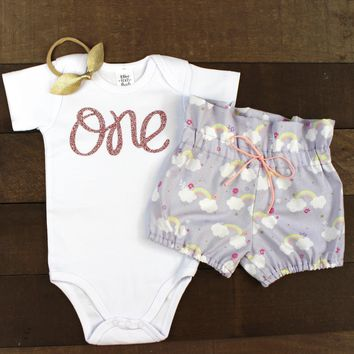 Baby Girls 1st Birthday Outfit | Purple Rainbow Cloud High Waisted Bloomers Outfit with Rose Gold One