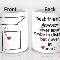Custom PinkMugNY design coffee mug - Long Distance - Best Friends