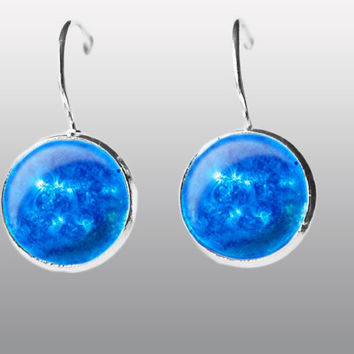 Blue Full Moon Earrings Moon Post dangle Earrings Space Earrings Solar System. Universe Earrings. Silver Moon Earrings  Gift for Girls.