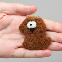 Handmade designer funny animal brooch felted of wool small brown dog for kids