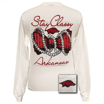 SALE Arkansas Razorbacks Stay Classy Pearls Bow Bright Long Sleeves T Shirt