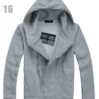 Men Korean Style Slant Zipper Long Sleeve with Hood Light Grey Cotton Hoodie M/L/XL@S0-51-1lg $14.99 only in eFexcity.com.