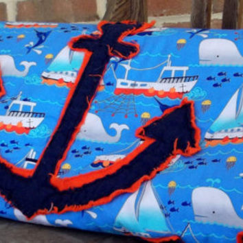 Anchors Away baby rag quilt