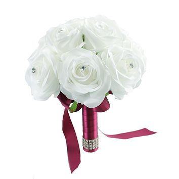 "7.5"" Bouquet - White Open Roses Artificial Bouquet - Perfect for Bridesmaids, Flower Girls, etc."