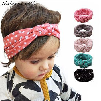 Naturalwell Baby Girls Knot Headband Kids Polka Dots Elastic Headwrap Child Cross Turban Wide Twisted Hair Accessories 1pc HB444