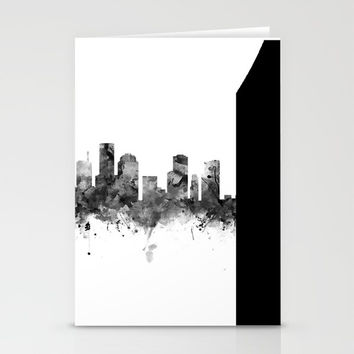 Houston Skyline Black and White Stationery Cards by monnprint