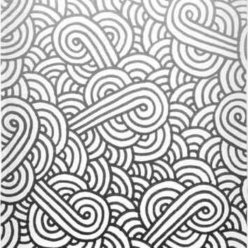 Gradient black and white swirls doodles Beach Towel