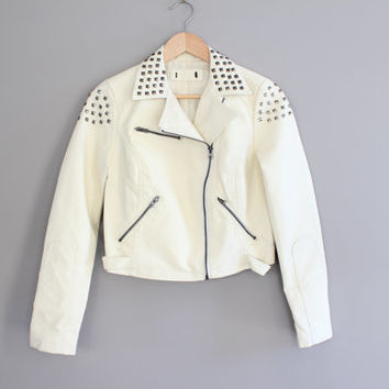 Petite Biker Jacket Cream White Soft Synthetic Leather Satin Lining Timeless Biker Jacket Vintage Size S #O141A