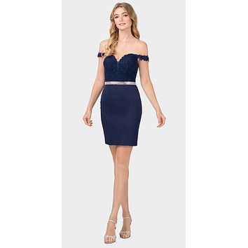 Off-Shoulder Short Fitted Homecoming Dress Navy Blue