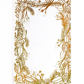 Gold Foil Floral Notepad