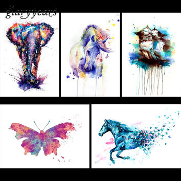 5 Pieces Colorful Animal Pattern Design Tattoo Sticker Flower Arm Body Art Watercolor Elephant Cat Decals Temporary Tattoo KM#18