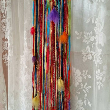 Rainbow Dreamcatcher,Rainbow Wallhanging, Nursery Accessories, Boho Chic, Bohemian dreamcatcher,Hippie Crochet, Fiberart,
