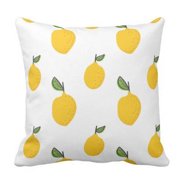 Chic Hand Drawn Lemon Pattern Throw Pillow