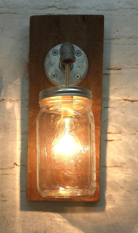 Mason jar sconce light fixture rustic from thepinktoolbox - Mason jar bathroom light fixture ...