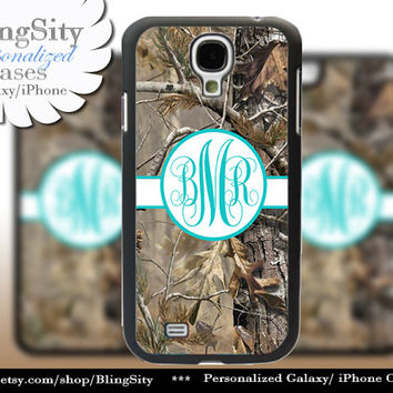 Camo Aqua Monogram Galaxy S4 case S5 RealTree Tree Camo Personalized Samsung Galaxy S3 Case Note 2 3 Cover Country Girl