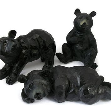 Hand Carved Coal Black Bear Figurines - Set of Three 3 Vintage Bear Sculptures Handcarved Coal Figures Animal Knick Knacks