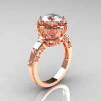 Modern Antique 10K Rose Gold 1.5 Carat CZ Diamond Classic Armenian Solitaire Wedding Ring AR107-10KRGDCZ
