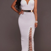 Strapless Bodycon Hollow Out Pure Color Tee-length Dress