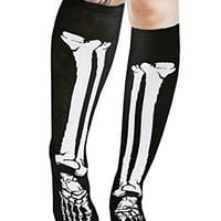 Skeleton Bone Knee High Socks