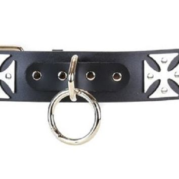 "Silver O-Rings & Iron Cross Black Leather Belt 1-3/4"" Wide"